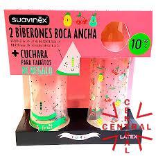 SUAVINEX fresh fruit ROSA 2 bib boca ancha 270ml 360ml tetina caucho + cuchara para potitos