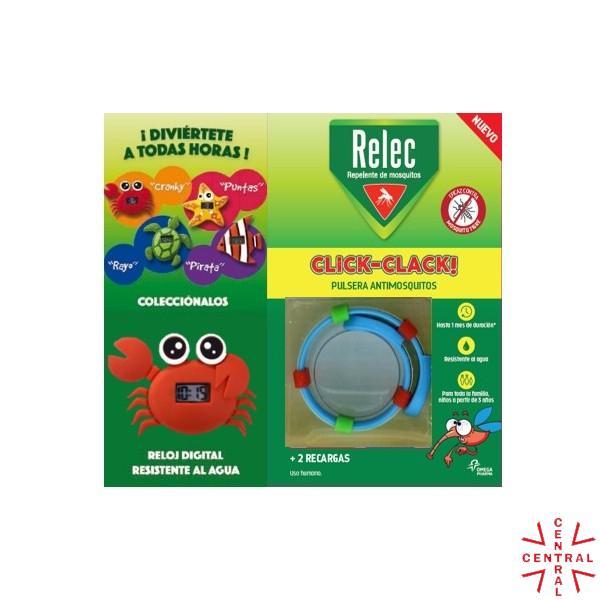 RELEC pulsera click-clack antimosquitos + reloj cangrejo omega pharma
