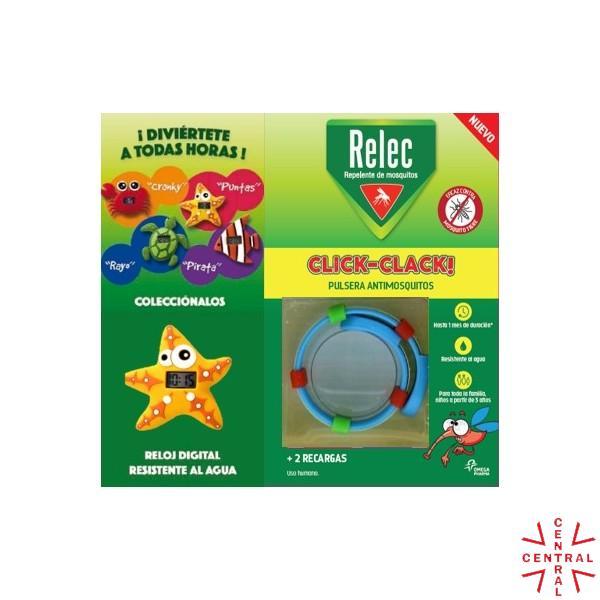 RELEC pulsera click-clack antimosquitos + reloj estrella omega pharma