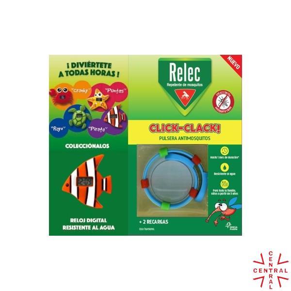 RELEC pulsera click-clack antimosquitos + reloj pez omega pharma