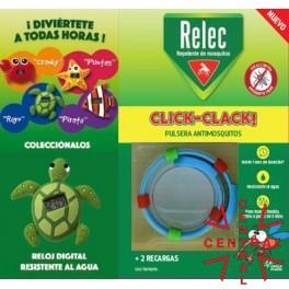RELEC pulsera click-clack antimosquitos + reloj tortuga omega pharma